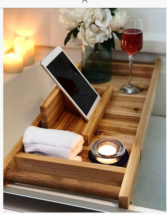 Photo of Zeder Bad Tablett, Bad Caddy, Bad Tablett mit IPad Halter, Holz Badeschale, Badewanne Tablett, Badewanne Tablett,