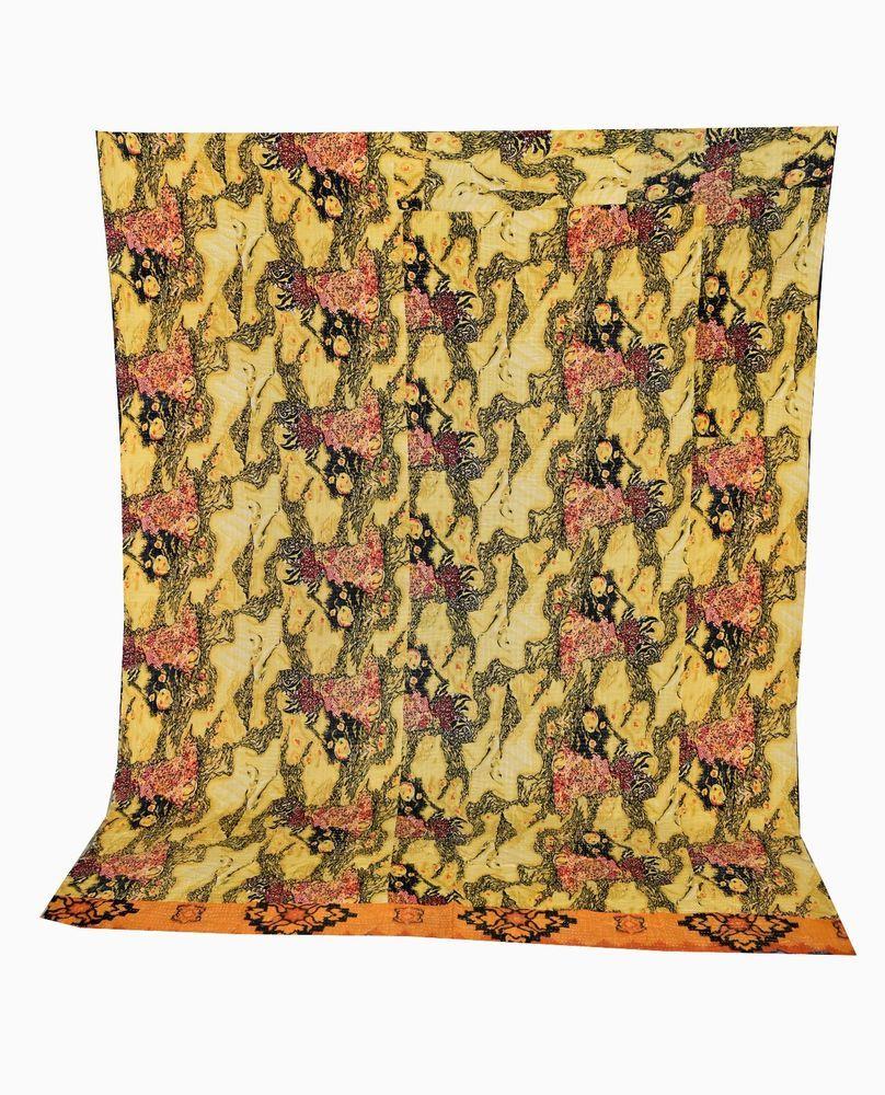Original Indian Kantha Throw Floral Print Vintage Quilt Reversible Bedspread Cotton Gudri Bedding Quilts, Bedspreads & Coverlets