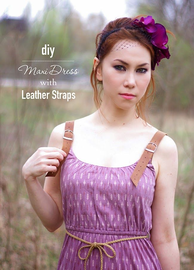 How to add leather straps with buckles to a summer maxi dress, Fashion tutorial created by Xenia Kuhn for fashion blog www.fashionrolla.com