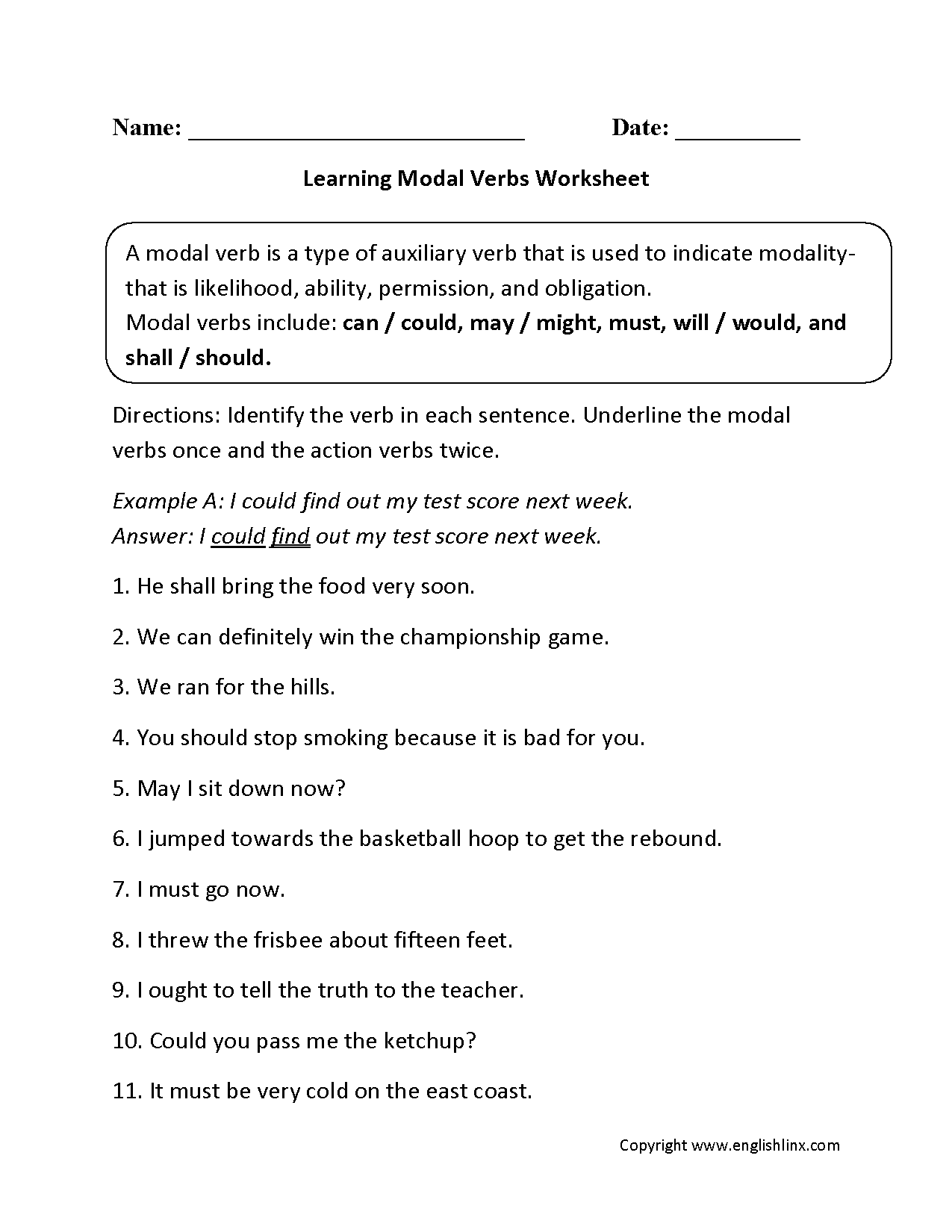 Learning Modal Verbs Worksheets