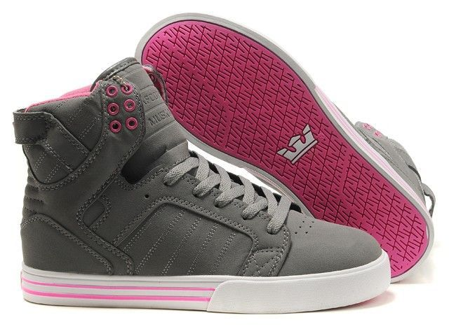 Supra Skytop Womens Grey Suede Pink White these are so cool