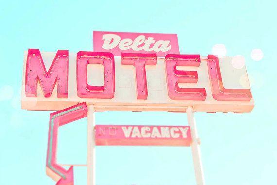 Vintage Neon Sign Wall Art, Delta Motel, Roadsign, Turquoise ...