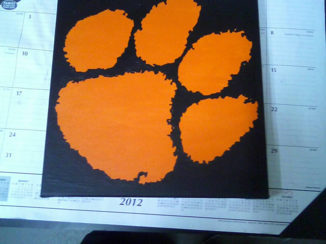 Clemson Paw Print! 12x12 Canvas $25 SHIPPED! https://www.facebook.com/thepaintingmamas