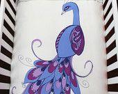 Peacock Baby Crib Bedding Set 100% Luxurious Sateen Organic Cotton (duvet cover+duvet+fitted sheet+pillow)