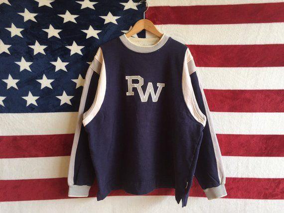 Vintage roca wear hip hop jumper blue navy colour roca wear sweater striped  design roca wear c96367929