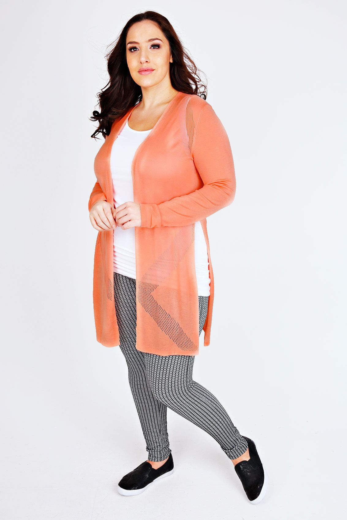 Coral Longline Cardigan With Pointelle Detail | Jada Sezer (Yours ...