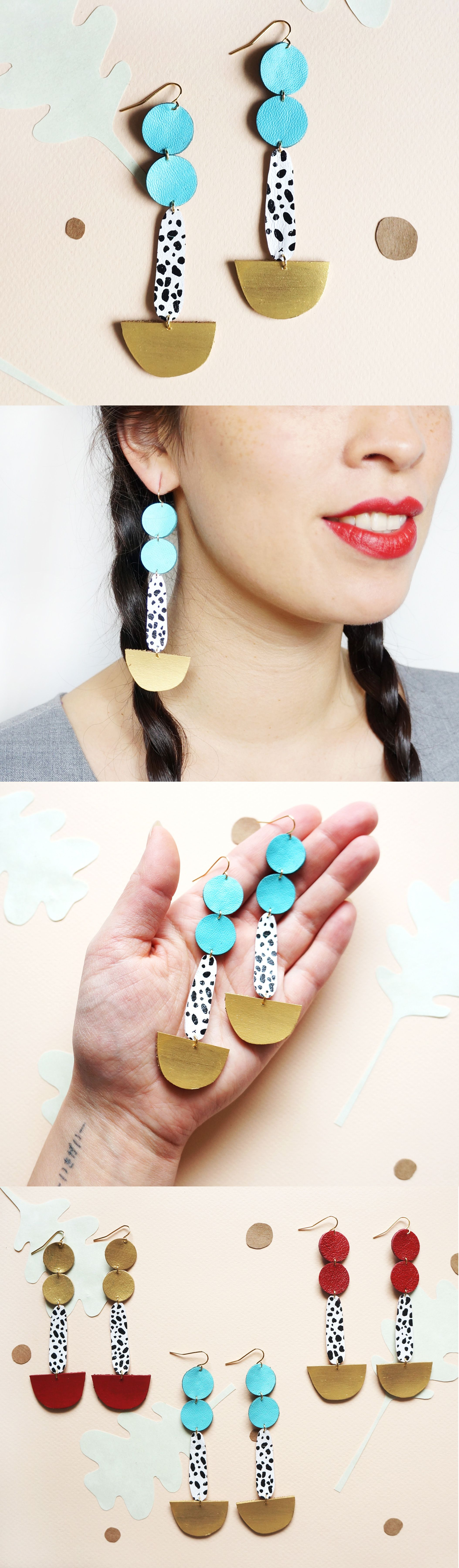 Geometric Moon Statement Leatherpass Pendulum Earrings Spotted Ocean  Blue Pop Art Eco Friendly Earrings Gold Black White Dots