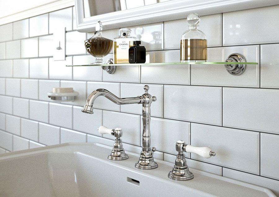mamoli rubinetterie belgavia bagno classico in stile retr con piastrelle bianche bisellate e rubinetti