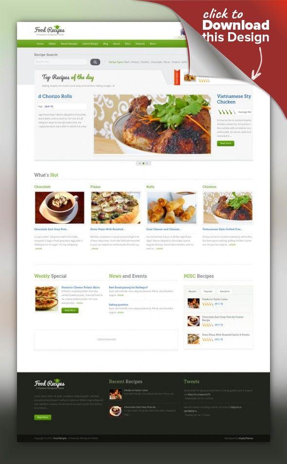 Food recipes wordpress theme wordpress site design and web food recipes wordpress theme wordpress site design and web inspiration forumfinder Image collections