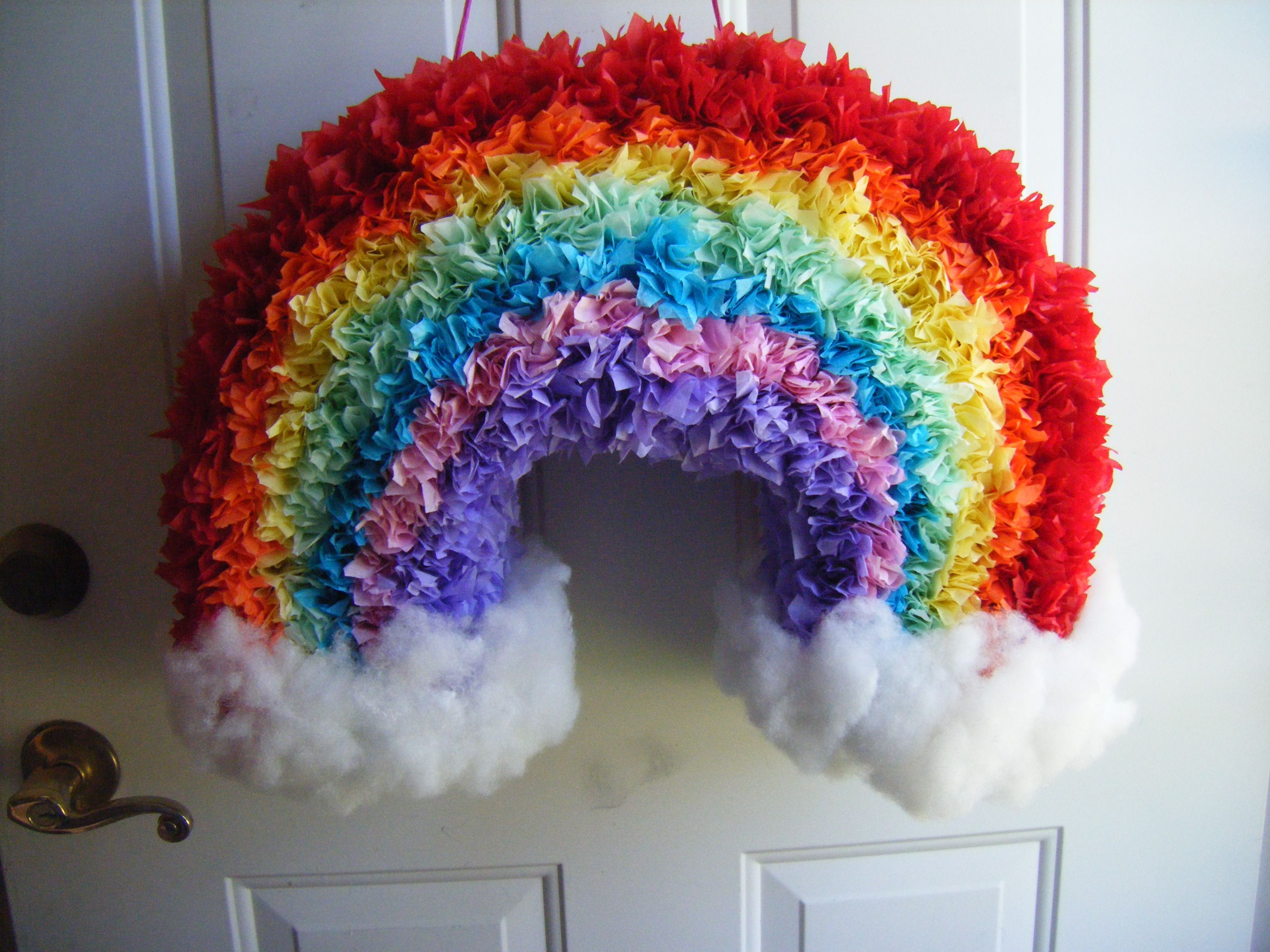 Rainbow pinata with clouds 9 26 12 i made i love making for Buy paper mache glue