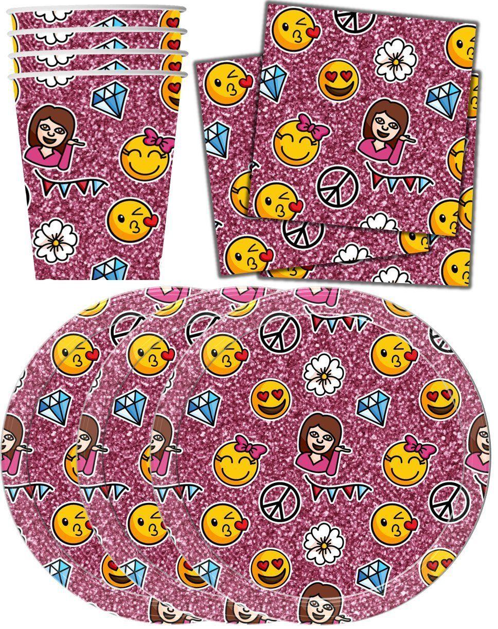 Amazon Girl Emoji Pink Sparkle Birthday Party Supplies Set Plates Napkins