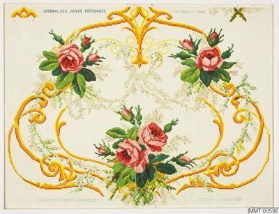 Rutmönster för korssömsbroderi på gulvitt styvt papper. Färglitografi i olika färger Motiv: 3 rosenbuketter sammanbundna av blomstergirlander och ornamentsslingor. Ö