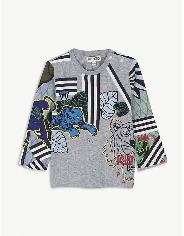 317379c27 KENZO Jungle print cotton-blend top 6-18 months   Products   Jungle ...