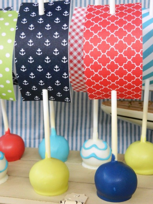 make waves with these nautical cake pops anders ruff custom designs would be cute for a pirate party as well - Nautical Party Decorations