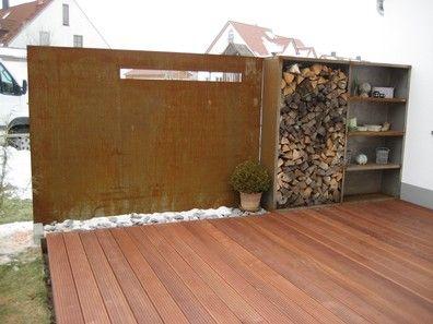 sichtschutz vollmaterial - stahl für den garten und das heim, Terrassen ideen
