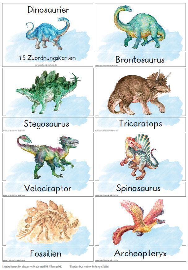 zuordnungskarten dinosaurier  dinosaurier kindergarten