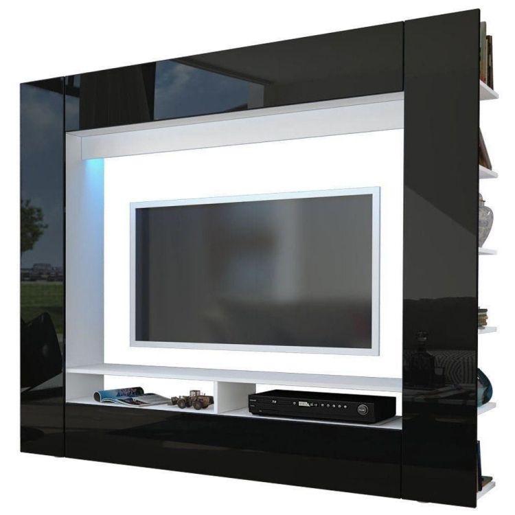 Moderne Wohnwand Mit LED Beleuchtung U2013 55 Ideen #hochglanz #wohnzimmer  #weiß #wohnwaendemodern