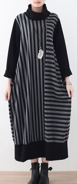 da4e885068f  70.00-2017 black striped cotton maxi dress women high neck traveling dress   cottondress cotton vintage omychic
