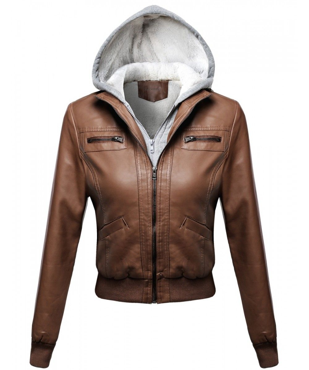 Women S Faux Leather Bomber Jacket Fur Lining With Various Colors