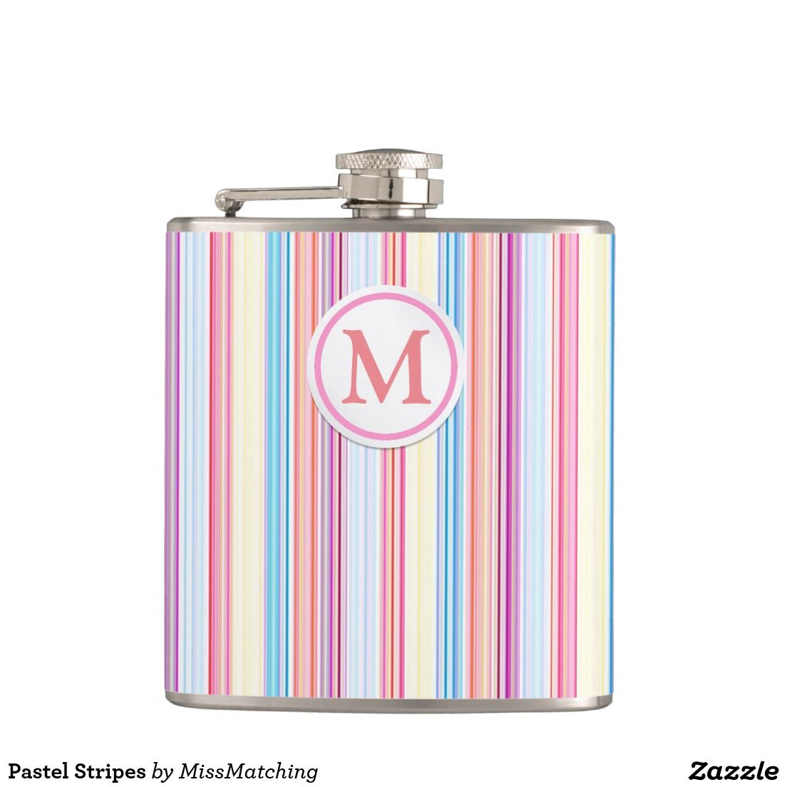 Pastel Stripes Personalized Hip Flask