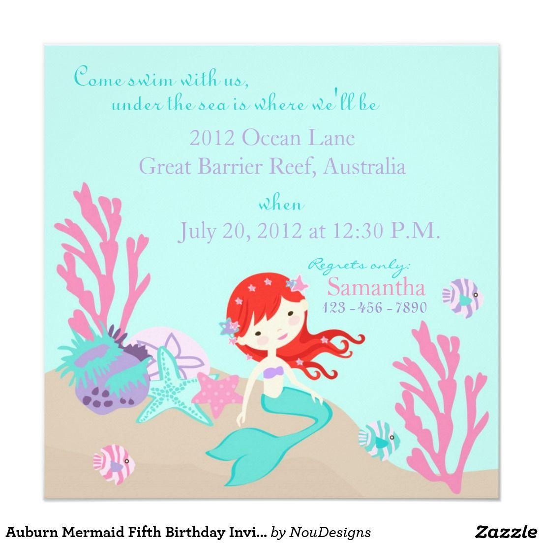 Auburn mermaid fifth birthday invitation 525 square invitation auburn mermaid fifth birthday invitation 525 square invitation card stopboris Images