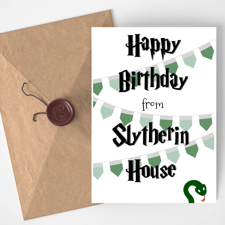 Harry Potter Inspired Printable Birthday Card Slytherin By Mediamedusashop On Etsy Https Www Etsy Geburtstagskarten Zum Ausdrucken Geburtstagskarte Karten