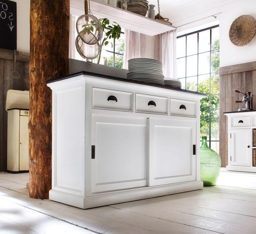Nova Solo Halifax Contrast Buffet Sliding Door Classic Kitchen Furniture Dining Room Furniture Design White Buffet Cabinet