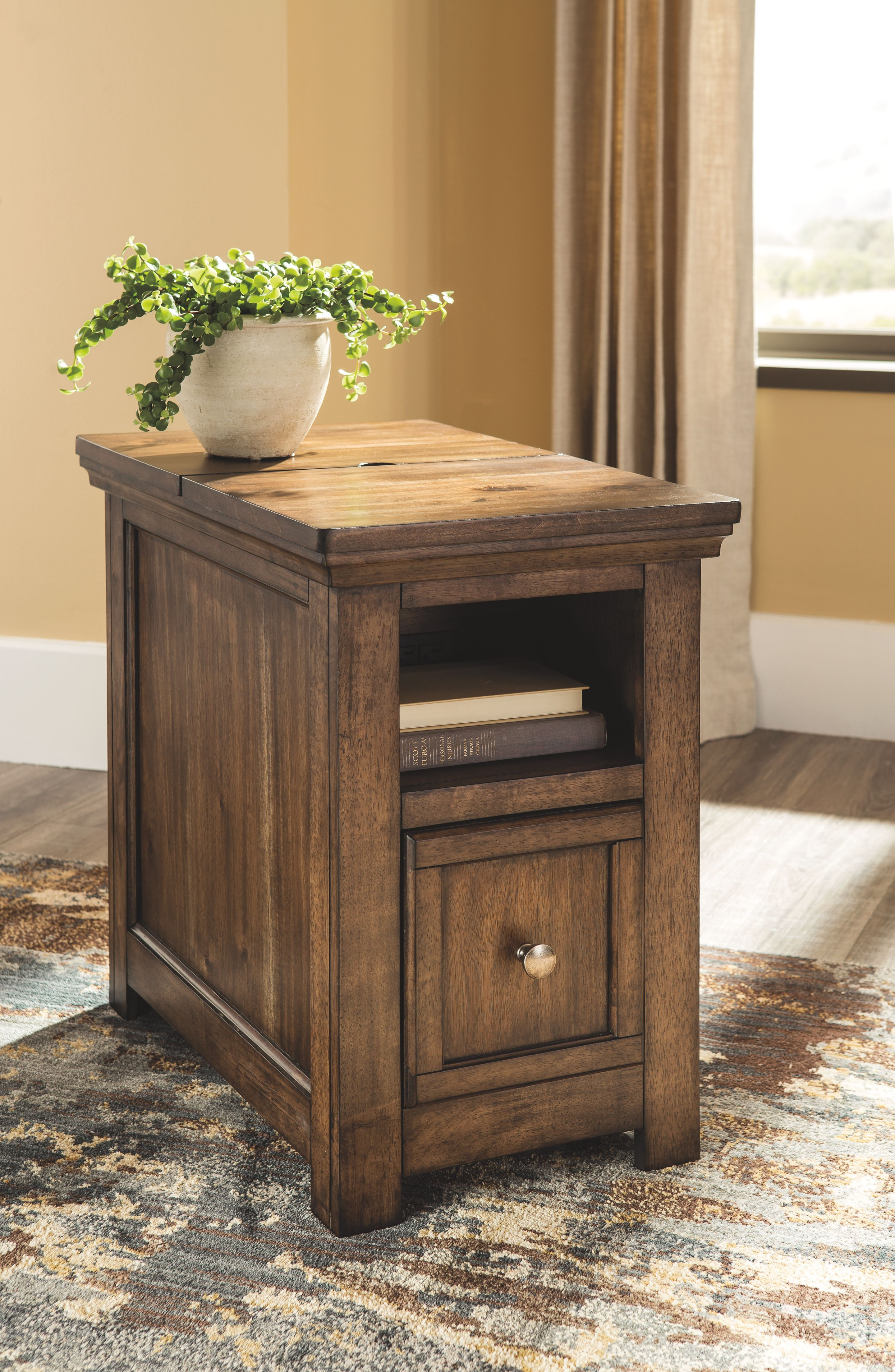 Flynnter Chairside End Table With Usb Ports Outlets Medium Brown