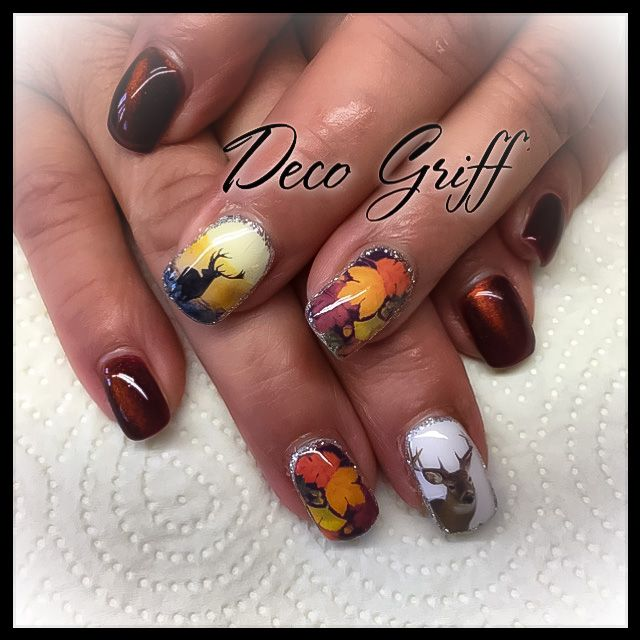 nail art automne chasse ongle plein ongle deco griff 39 pinterest ongle deco ongles et. Black Bedroom Furniture Sets. Home Design Ideas