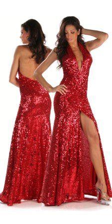 Red Sequin Cocktail Dress - Ocodea.com