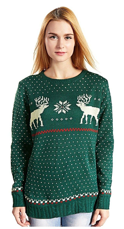 f6ec648eed53 Women s Christmas Reindeer Snowflakes Sweater Pullover - Green-b ...