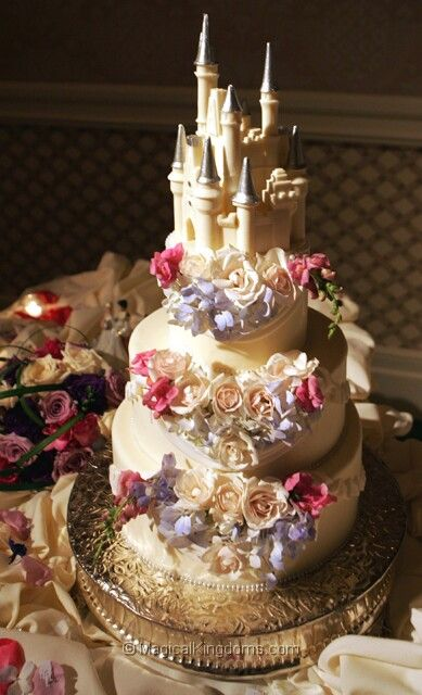 princess inspired wedding cake quot destination castle quot floral wedding cake from disney 18772