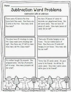 free christmas subtraction word problems with unknown 2nd grade math second grade math math. Black Bedroom Furniture Sets. Home Design Ideas