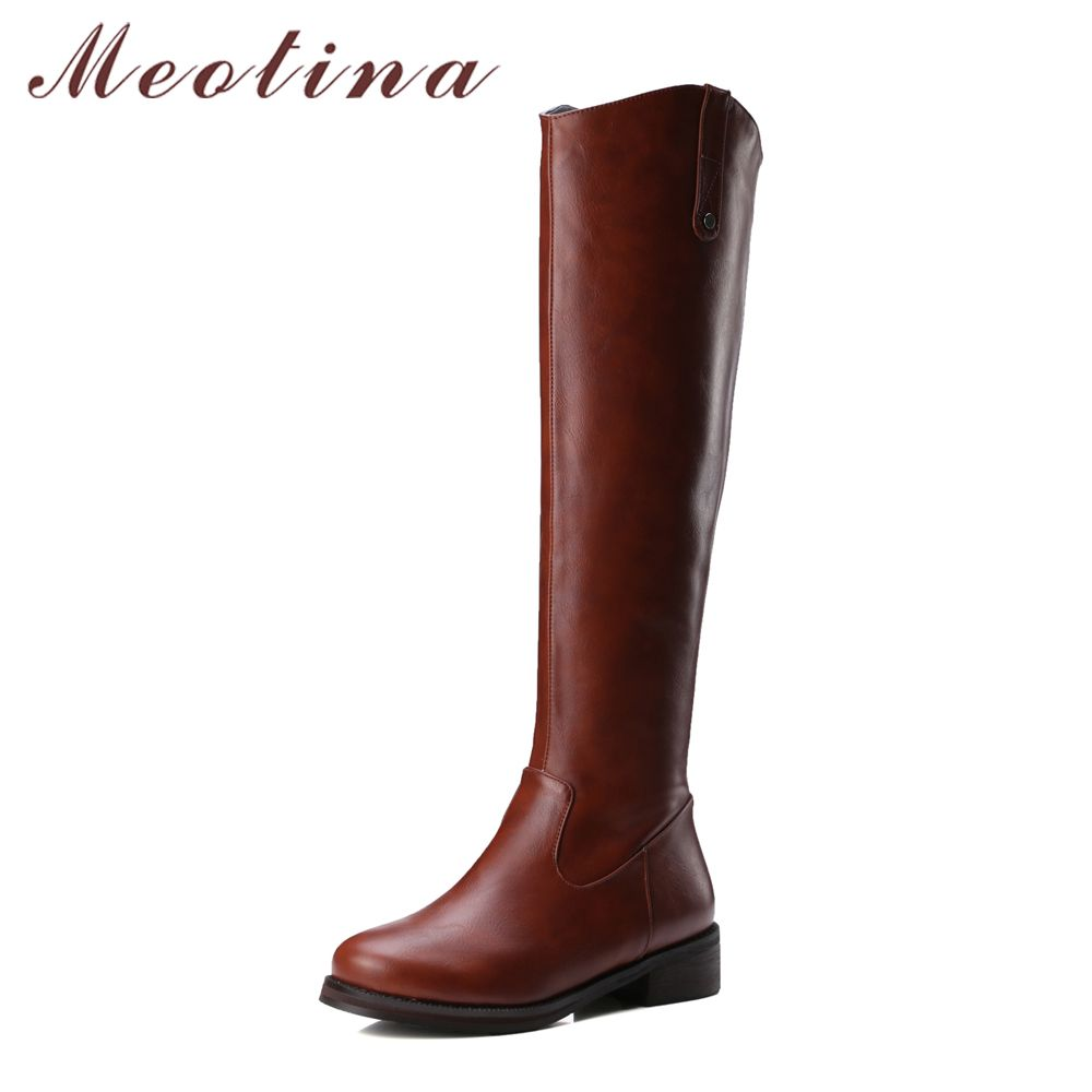 cd64479f8455 Meotina Women Keen High Western Boots Med Heels Round Toe Riding Boots Zip  Winter Boots Ladies