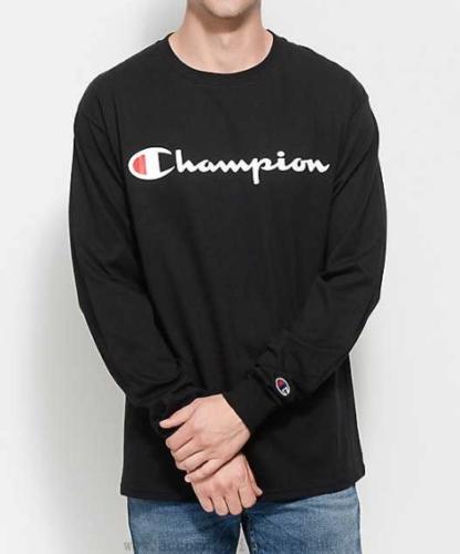 a79d4b62d CHAMPION Mens LONG SLEEVE T-Shirt SCRIPT LOGO Supreme BLACK Athletic Gym  $40 NEW