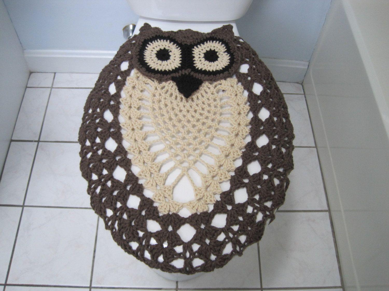 Astounding Crochet Owl Toilet Seat Cover Taupe Heather Oatmeal Black Dailytribune Chair Design For Home Dailytribuneorg