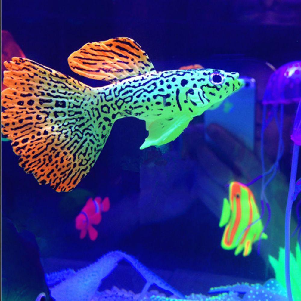 Decor goldfish peacoak jellyfish aquarium decoration for Glow in the dark fish tank