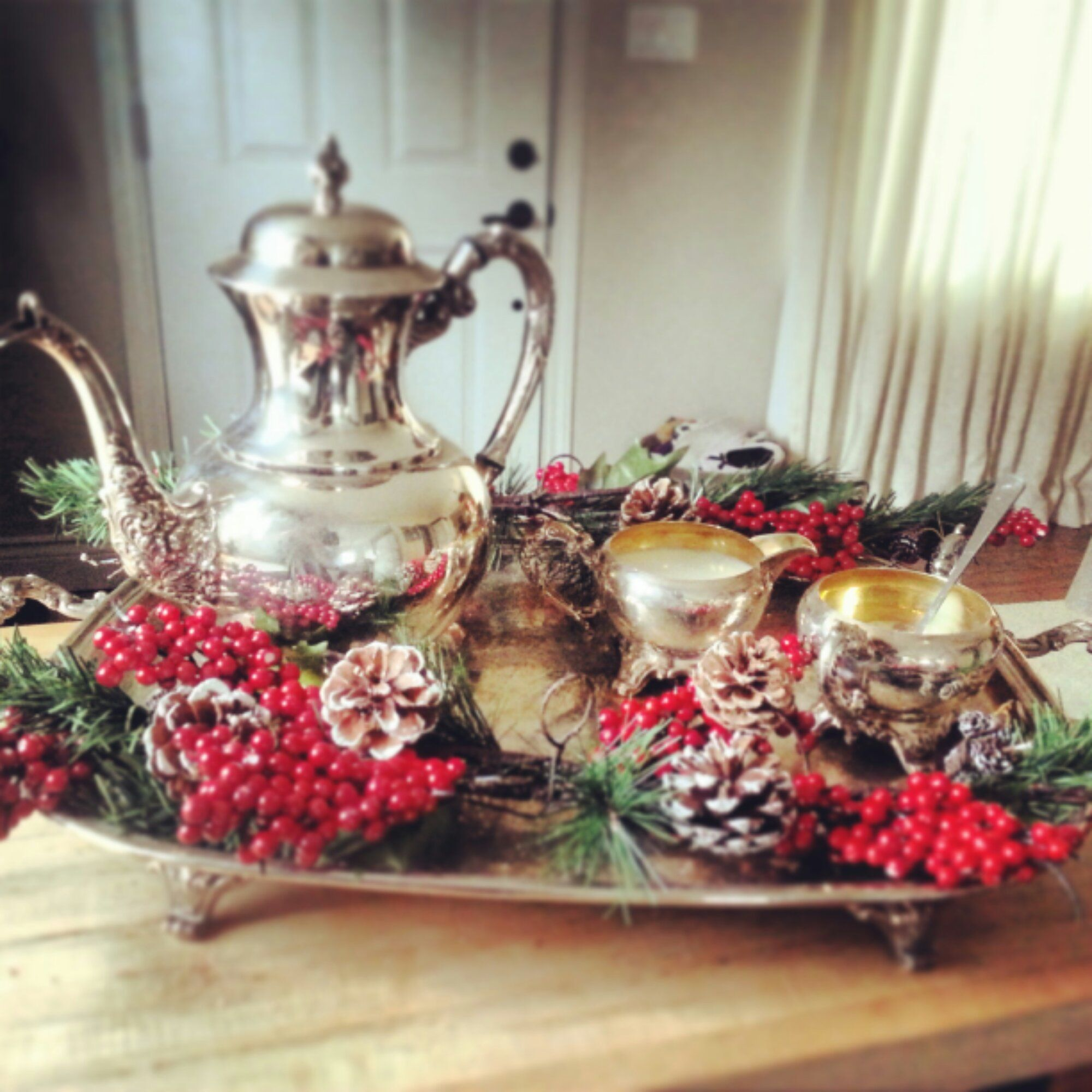 Holiday Vintage Silver Tea Set Kristinecarr