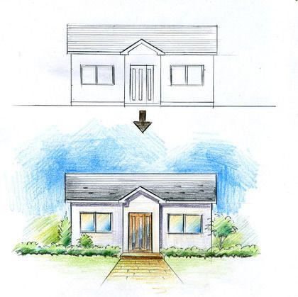 立面図を立面パースに 手描きパースの描き方 建築パース