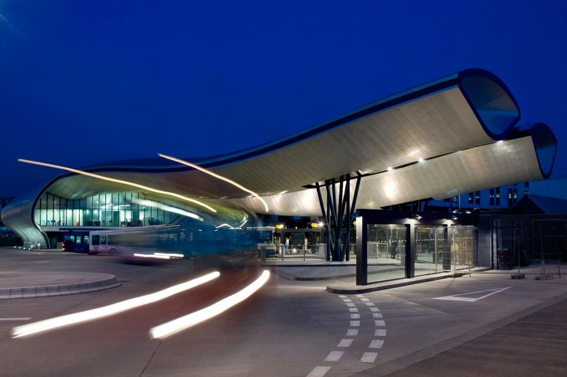 Slough Bus Station by bblur architecture. SEE MORE: http://www.architypereview.com/27-airports-transportation/projects/1127-slough-bus-station #airports #transportation #airports+ transportation #architecture #design #architects #transitdesign #planes #airplane #trains #subways #railroads  Image 1 of 24