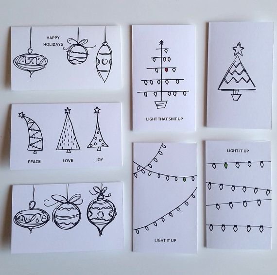 7 Piece Variety Pack HAND DRAWN Christmas Cards #christmas