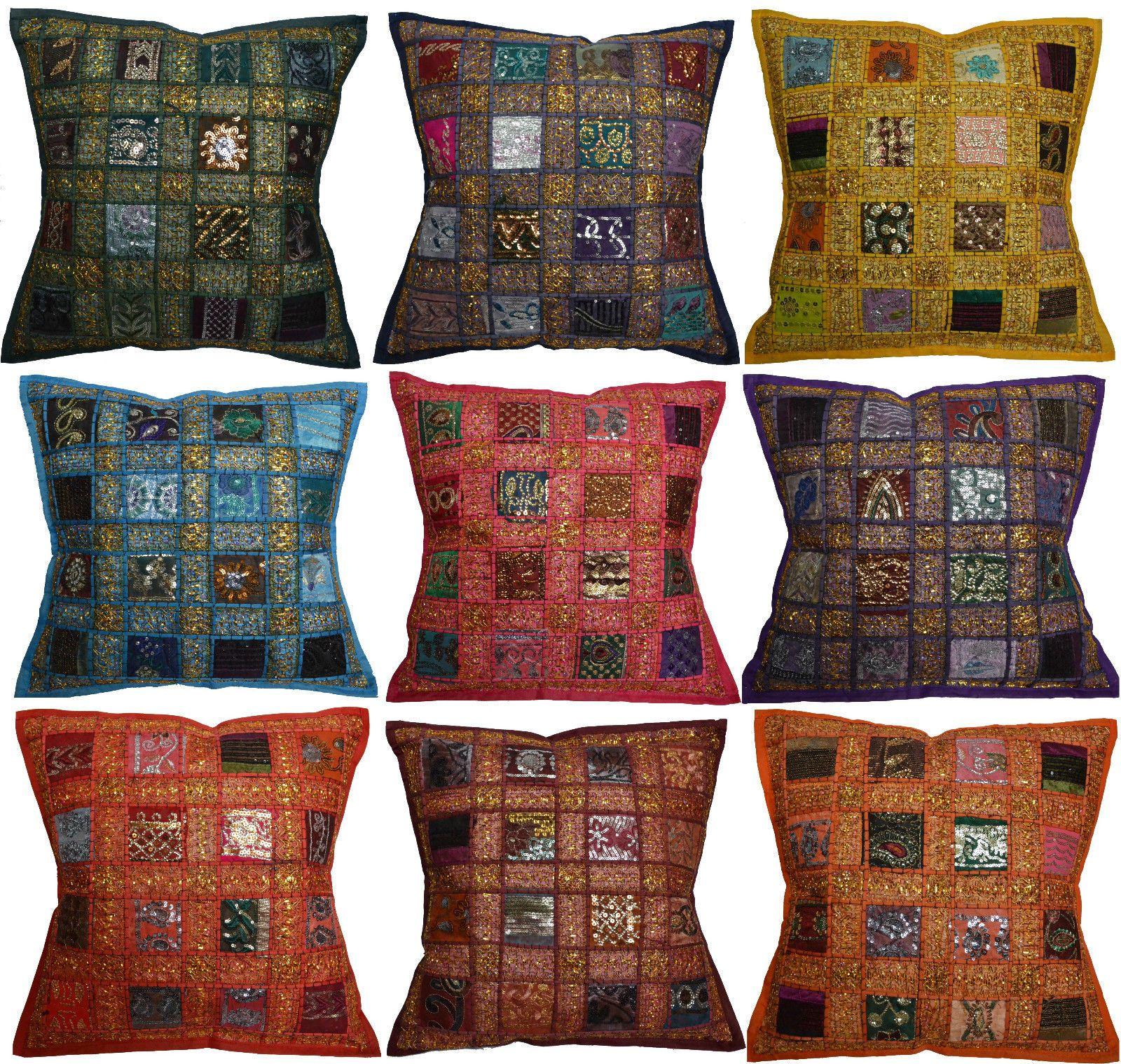 Funda de coj n bordado sari reciclado estilo estilo indio marroqu 40cm ebay bohemio - Cojines indios ...