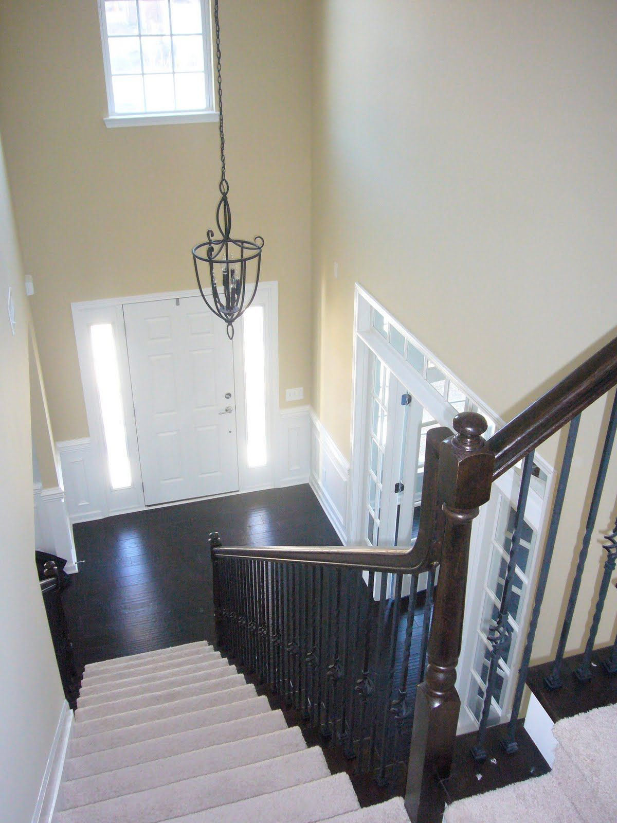 Furniture Fascinating Foyer Paint Color Ideas With Beige Wall Paint On Combined Black Floor And Stunning Foyer