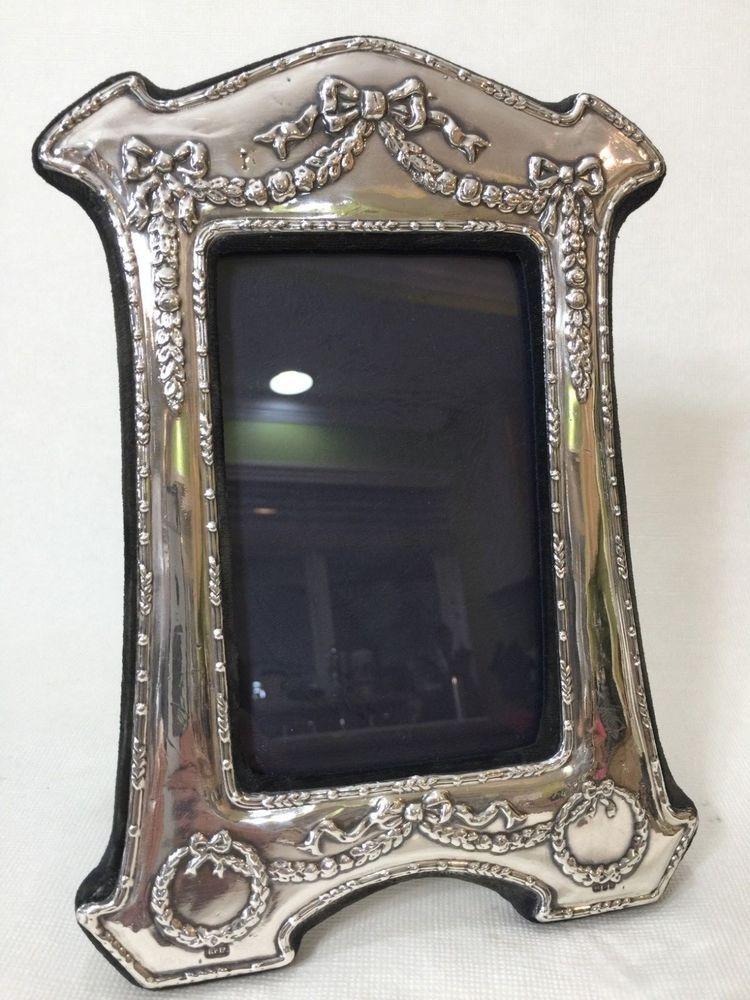 Vintage Kfl British Sterling Silver Photo Frame Roses Bows 3 12