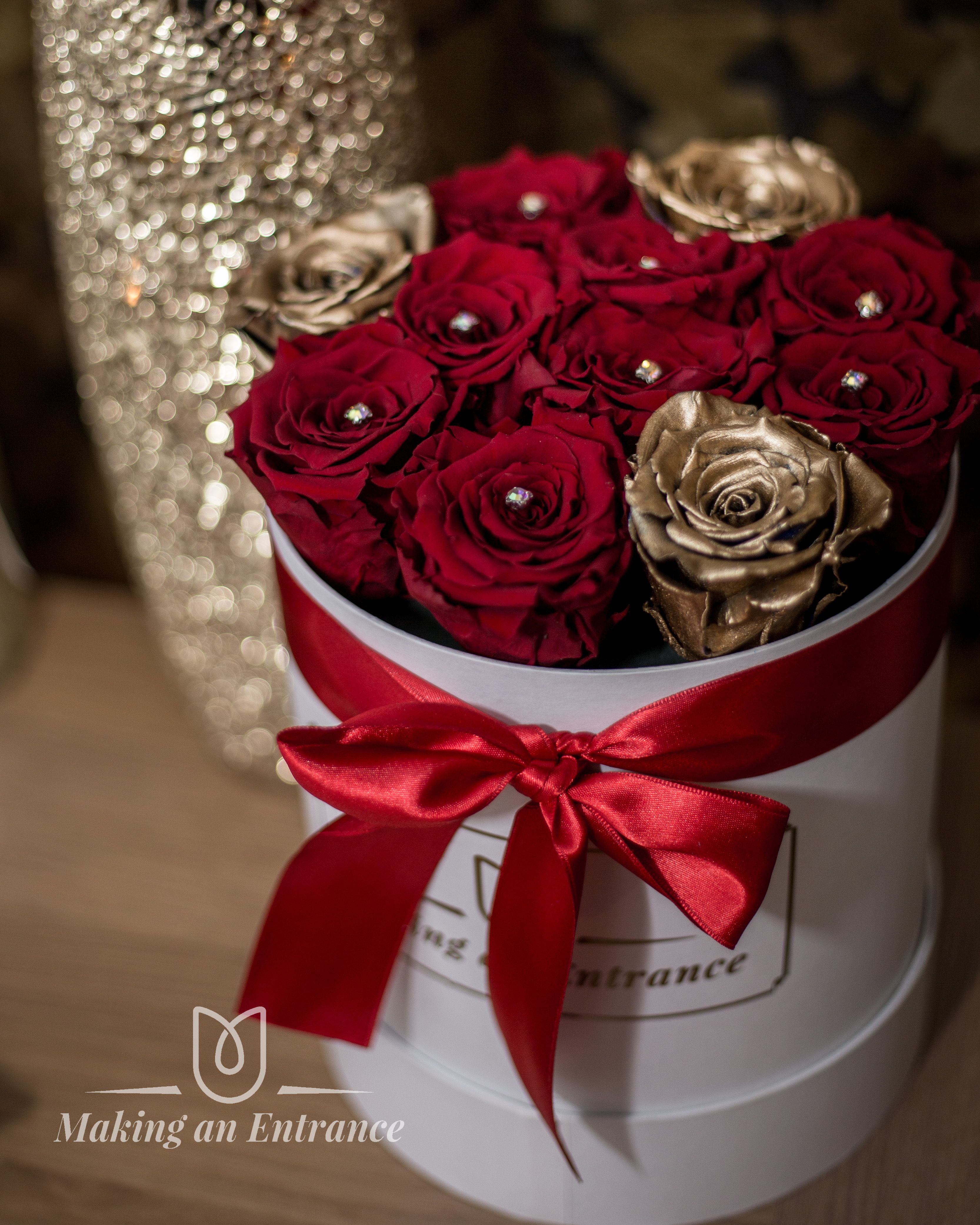 Medium Round Gift Box With Infinity Preserved Red And Gold Roses These Is Also