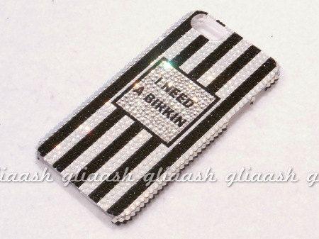 Black and White stripe Crystal case  fr iPhone 5 handmade w/ Swarovski element on Etsy, $129.99