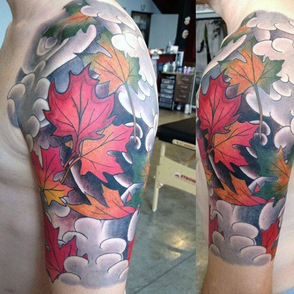 Awesome Clouds With Maple Leaves Mens Half Sleeve Tattoo Designs In 2020 Half Sleeve Tattoo Cool Half Sleeve Tattoos Half Sleeve Tattoos Designs