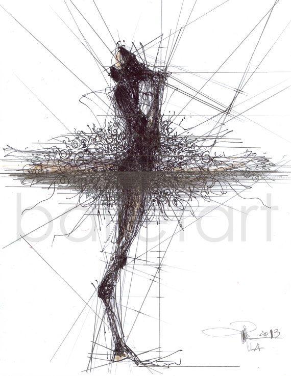 Ballet Proportions - hand Drawing of ballet dancer - pencil, ink - ballet art