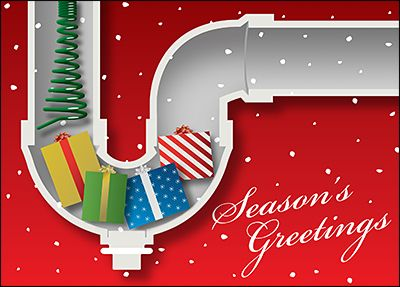 Drain cleaning holiday card glossy white 1905 christmas cards customize christmas cards for plumbers online ziti cards business reheart Images