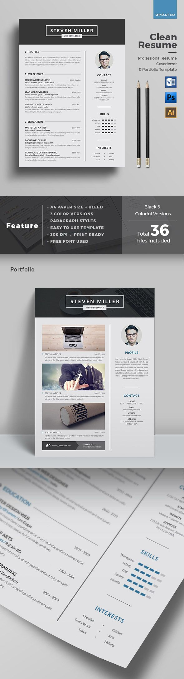 Clean Creative Resume Template   Pinteres